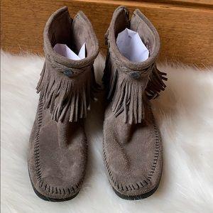 Minnetonka Grey booties braided trim